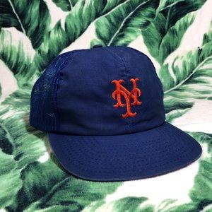 Vintage 90s New York Mets Trucker Snapback Hat Cap